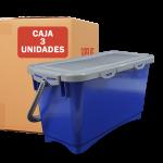 contenedor hermetico 20L azul 3 unidades