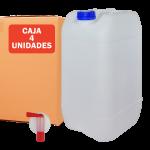 Pack de 4 unidades de garrafas de plástico 25 litros con grifo Super Net Cali